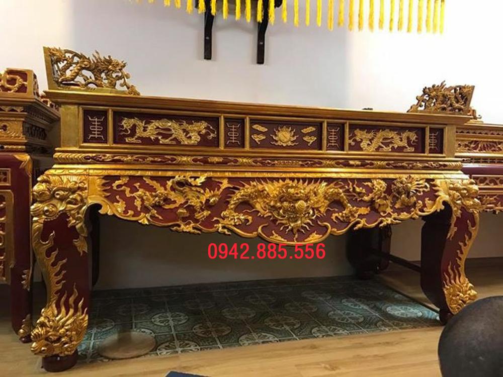 Sập thờ tứ linh sơn son thếp vàng 2