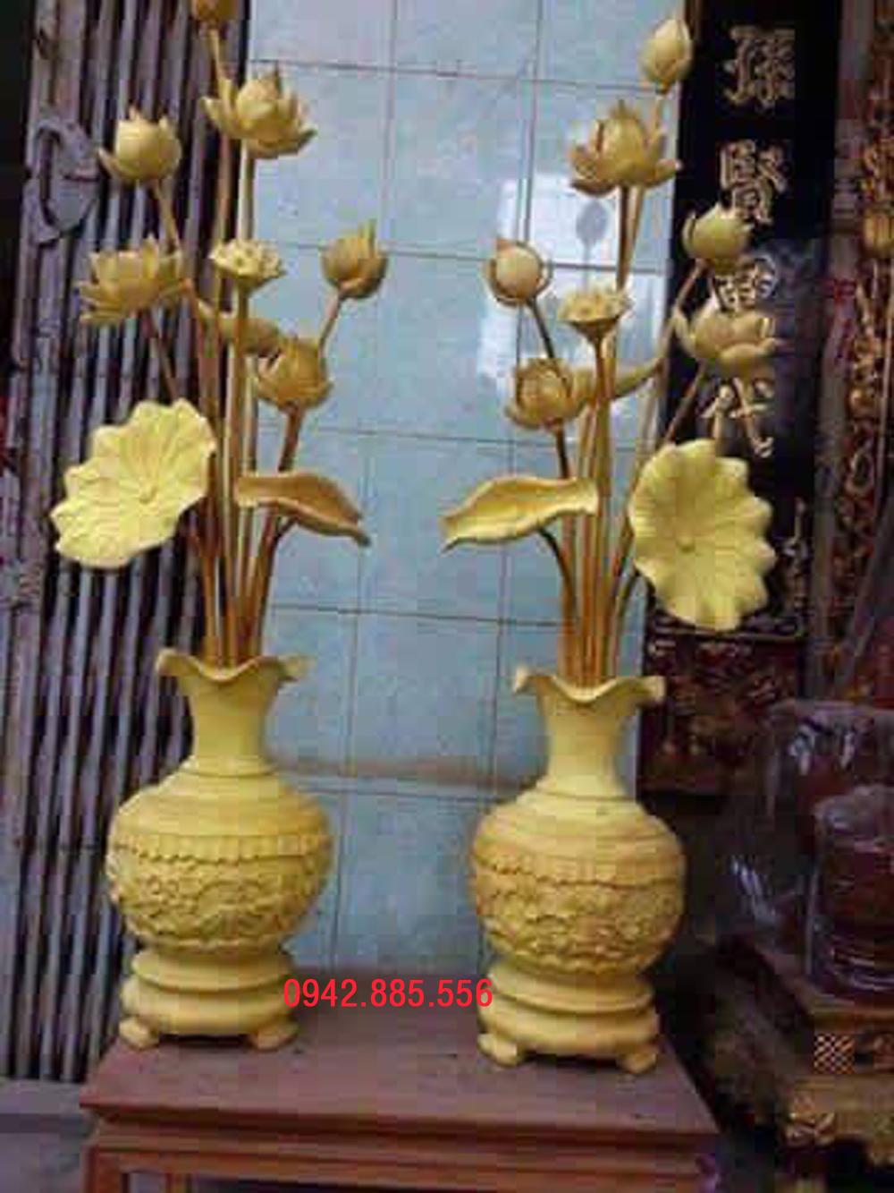 bình sen thờ bằng gỗ Mít