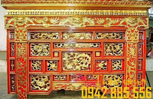 Đồ thờ sơn son thếp vàng tạo sự sang trọng, uy nghi cho không gian thờ cúng