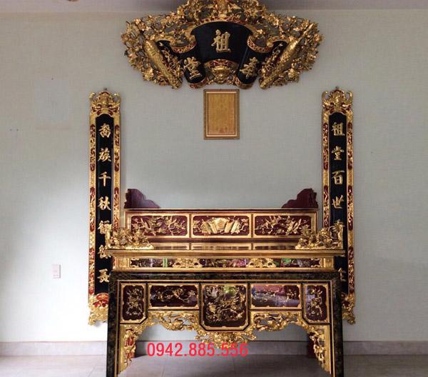 Mẫu bàn thờ phổ thông, cao cấp đều có thể sơn son thếp vàng